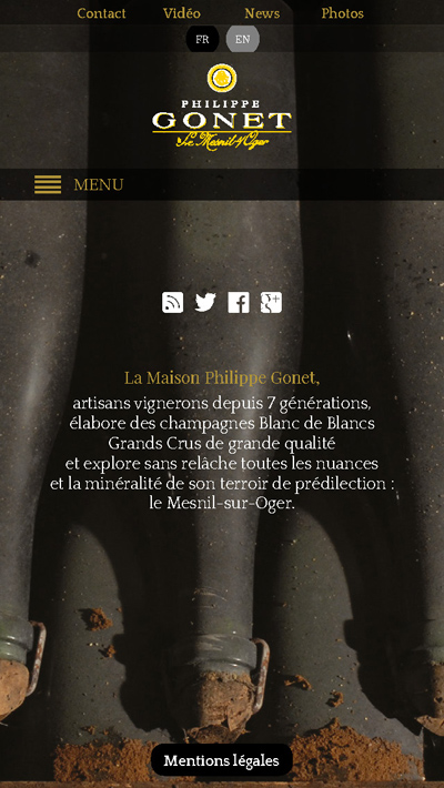Champagne Philippe Gonet - Site internet version mobile - accueil