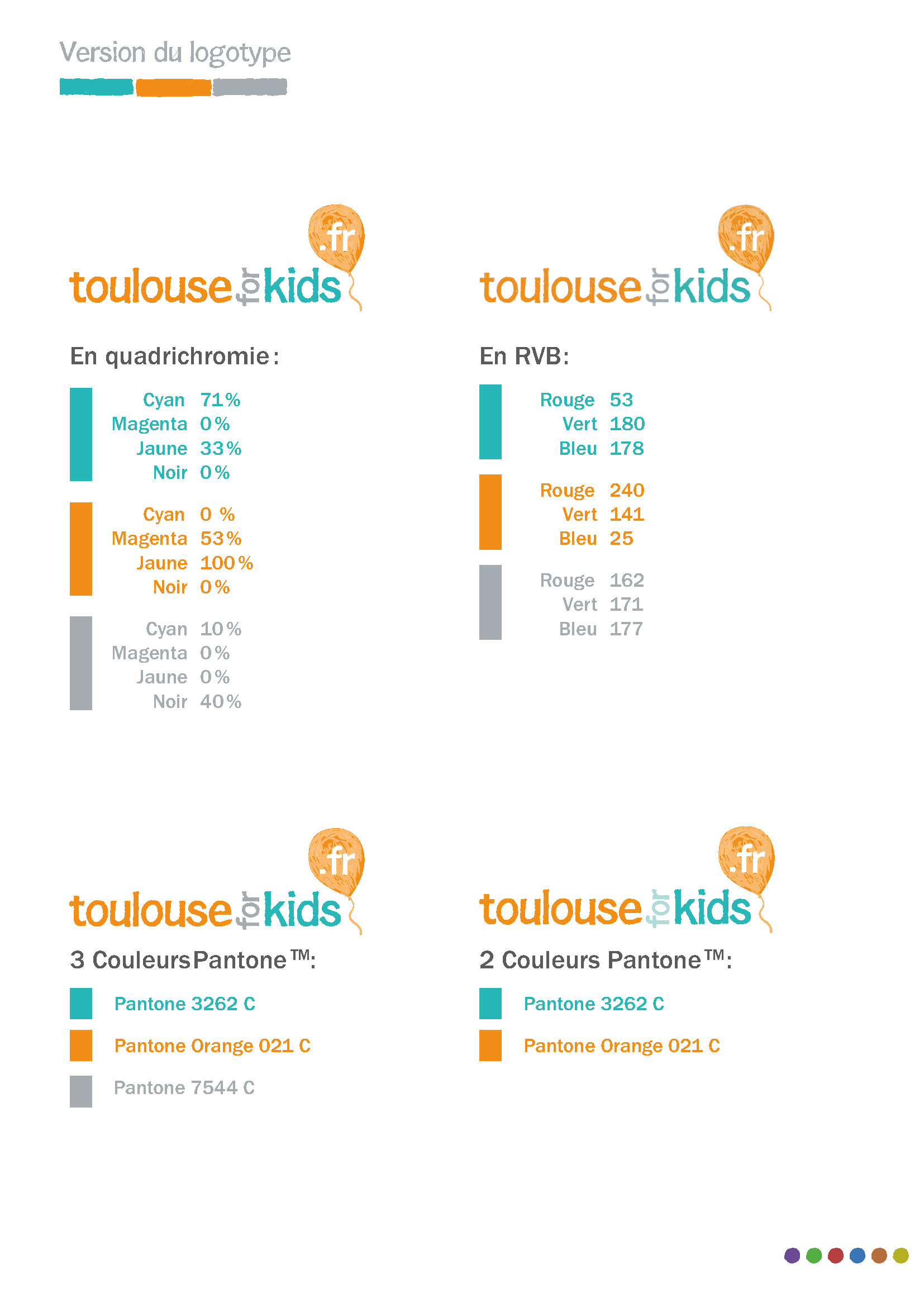 Logo Toulouse For Kids, couleurs